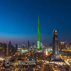 فيديو برج خليفة في دبي يخطف الأنظار بألوان علم السعودية احتفالاً باليوم الوطني